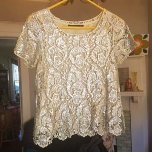 ZARA medium metallic silver lace  lined top blouse